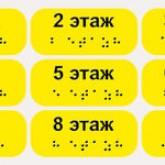 """Тактильные наклейки """"Номер этажа"""" желтые"""
