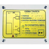 Тактильная мнемосхема цветная эконом с держателем из оргстекла