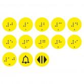 Тактильные наклейки в лифт 10 этаж желтые