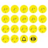 Тактильные наклейки в лифт 16 этажей желтые
